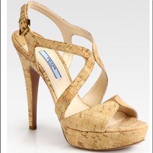 Prada Multi Strap Cork Sandals/Heels